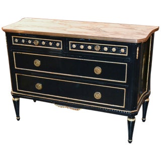 Jansen Black Lacquered & Gold Leaf Commode