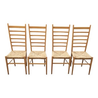 Italian Gio Ponti Ladder Back Rush Seat Chairs - Set of 4