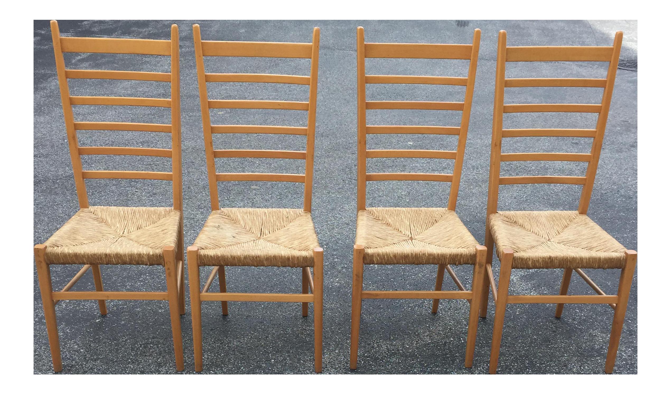 Italian Gio Ponti Ladder Back Rush Seat Chairs   Set Of 4