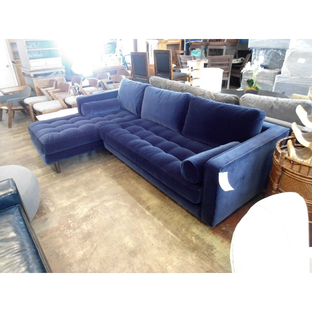 Navy Blue Velvet Sectional W/ Tufted Seat, Left Chaise - Image 3 of 6
