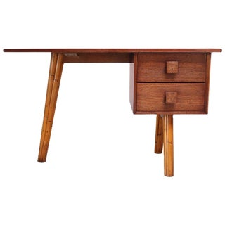 Mahogany and Bamboo Student Desk in the Manner of Royère