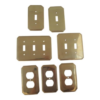 Vintage Brass Outlet & Switch Plate Covers - Set of 7