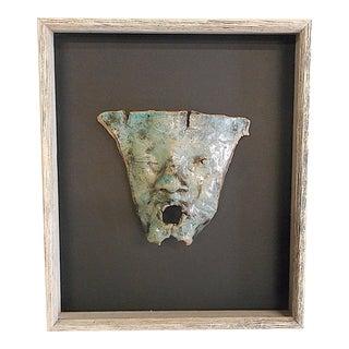 Original Vintage Handmade Stoneware Mask-Form Sculpture