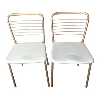 Retro Cosco 1950's Cream and Copper Kitchen Chairs - a Pair
