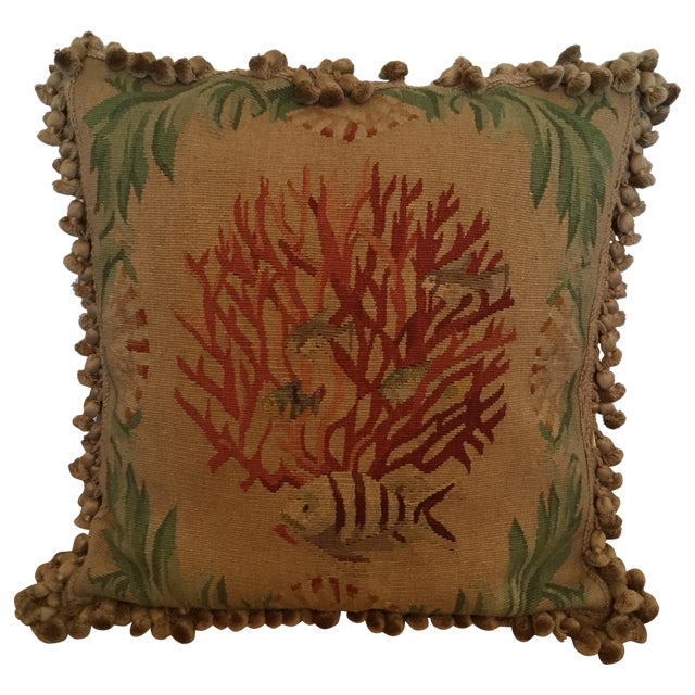 Image of Coral & Fish Tapestry Pillow
