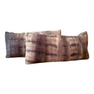 Japanese Shibori Dye Lumbar Pillows - a Pair