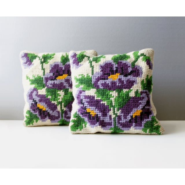 Vintage Pansy Flower Needlepoint Pillows - 2 - Image 3 of 4