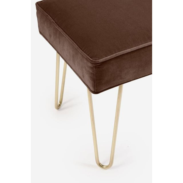 Petite Brass Hairpin Ottomans in Espresso Velvet by Montage - Image 1 of 1