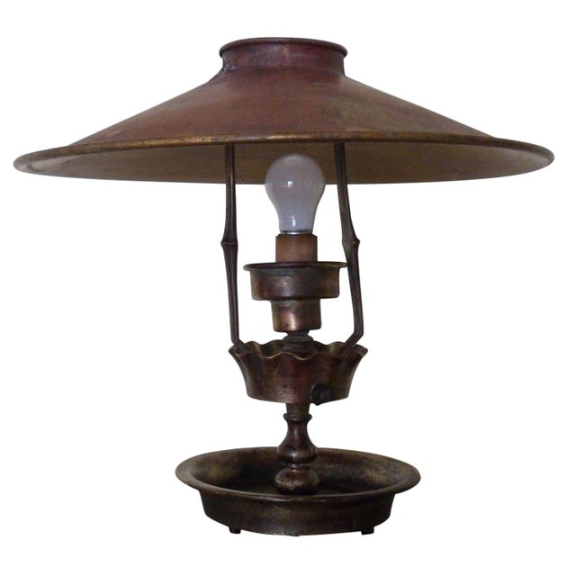Early 1900s Bronze Tole Lamp Hand Painted Chairish