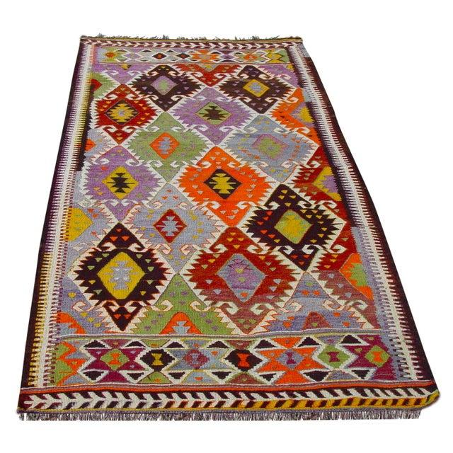 "Vintage Handwoven Turkish Kilim Rug - 4'11"" x 8'6"" - Image 1 of 10"