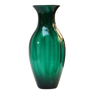 Large Blenko Blown Glass Emerald Straight Optic Vase