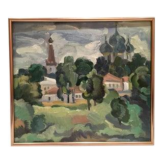 Original Oil on Burlap Landscape Painting