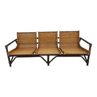 Mid Century Modern Bamboo and Cane Sofa