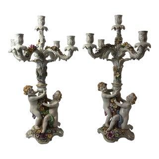 Von Shierholz Figural Porcelain Candelabras - A Pair