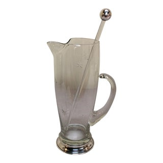 Sterling Silver Rimmed Cocktail Pitcher & Stirrer