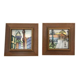 Harris Strong Mid-Century Modern Framed Tiles - A Pair