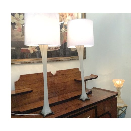 Image of Vintage Murano Gray Glass Table Lamps - A Pair