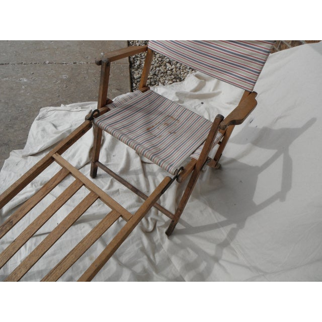 Antique Canvas Steamer Chair & Footrest - Image 3 of 8