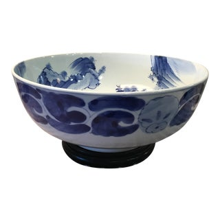 Large Chinese Blue & White Glazed Bowl