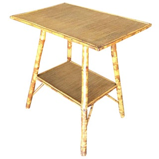 Pedestal Side Table with Tiger Bamboo Frame with Bottom Shelf