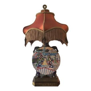 Immaculately Detailed Chinese Table Lamp and Shade