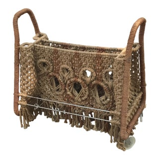Macrame Magazine Rack on Wheels