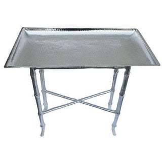 Hollywood Regency Silver Chinoiserie Tray Table