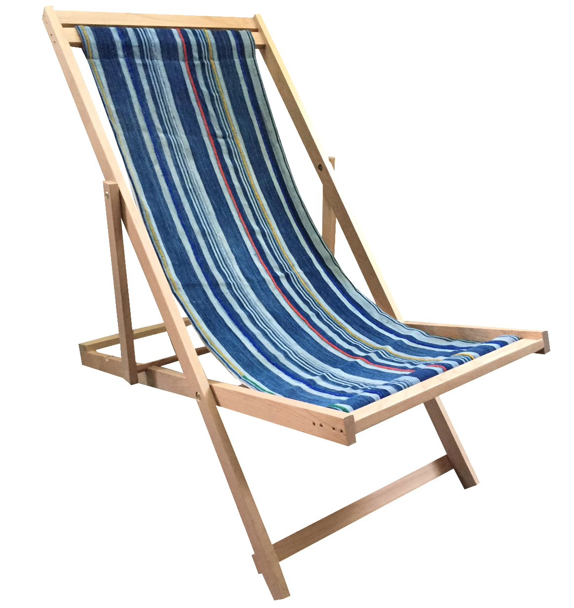 folding sling chair with indigo textile chairish