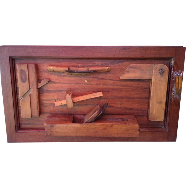Antique Tools in Reclaimed Wood Shadowbox - Image 1 of 10