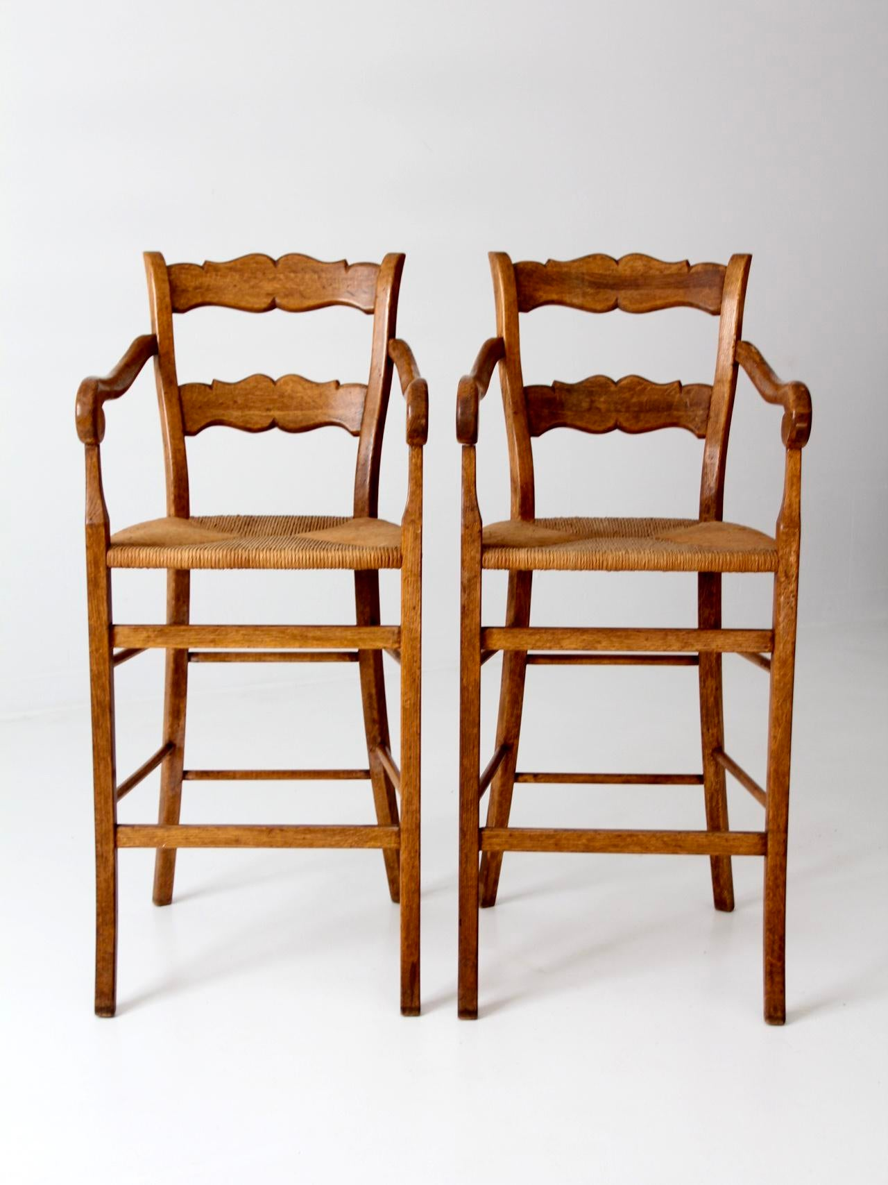 Vintage High Back Counter Stools With Arms Set 2 Chairish