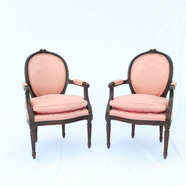 pink louis xvi style fauteuil armchairs a pair chairish. Black Bedroom Furniture Sets. Home Design Ideas