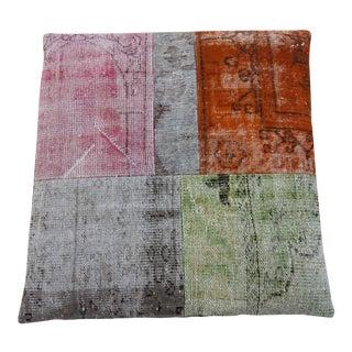Vintage Turkish Patchwork Rug Floor Pillow & Dog Bed