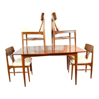 Mid-Century Dining Set With 4 Chairs