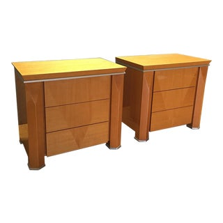 Rapport Giorgio Collection Wood & Metal Nightstands- A Pair
