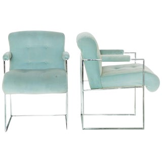 Thayer Coggin Milo Baughman Light Blue Velvet Armchairs - A Pair