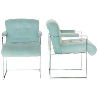Thayer Coggin Milo Baughman Light Blue Velvet Armchairs - A Pair