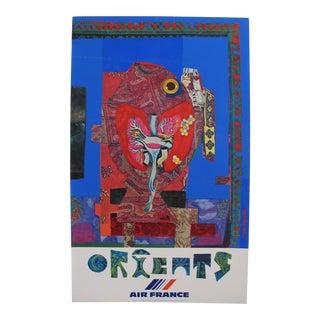 1980 Original Air France Travel Poster, Orient