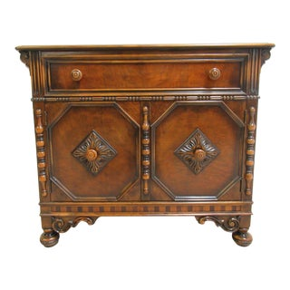 Antique Berkey Gay Depression Jacobean Walnut Bar Cabinet