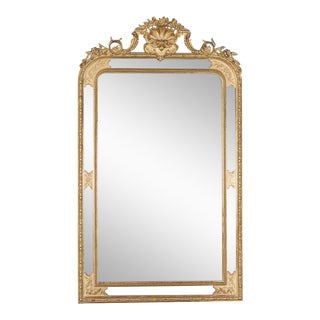 Antique French Pareclose Mirror Régence Style Cartouche circa 1885 (35″w x 59 1/2″h)
