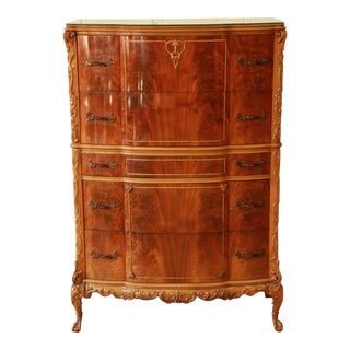 Vintage French Chippendale Flame Mahogany Highboy Dresser