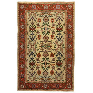 Hand Knotted Wool Turkish Oushak Rug - 6′2″ × 9′9″