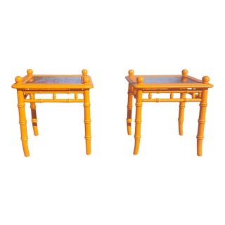 Vintage Regency Tangerine Orange Faux Bamboo Glass Tables - A Pair