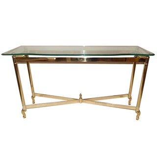 Hollywood Regency Brass & Glass Console Table