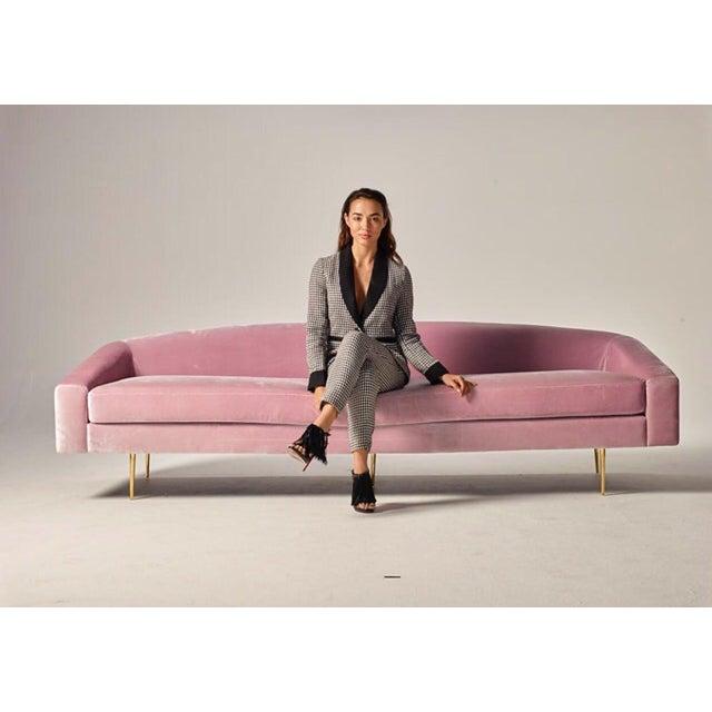 Mid-Century Modern Pink Velvet Sofa - Image 4 of 6