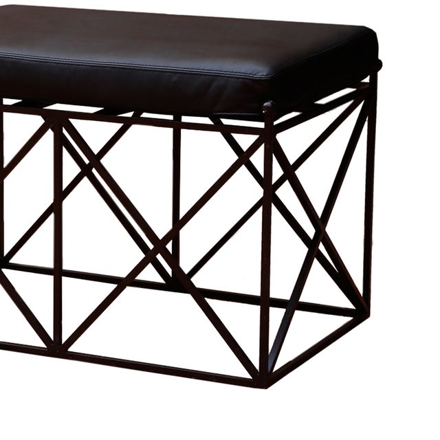 Lattice Iron Bench with Upholstered Leather Seat - Image 2 of 2