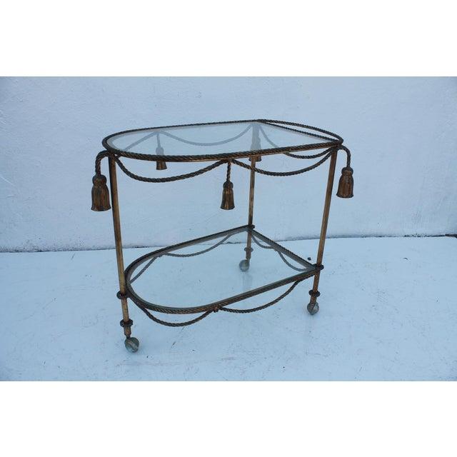 Italian Hollywood Regency Gilt Metal Bar Cart - Image 2 of 9
