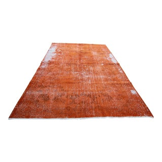 Vintage Distressed Overdyed Orange Turkish Rug - 7' X 10'4