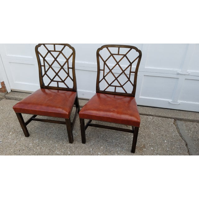 vintage baker furniture leather chairs a pair chairish