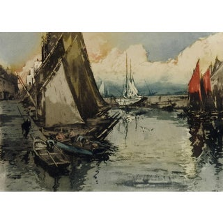 French Harbor of Concarneau Lithograph