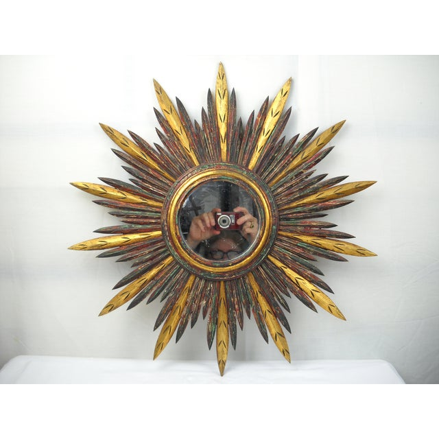 French Carved Wood Starburst Mirror - Image 2 of 8
